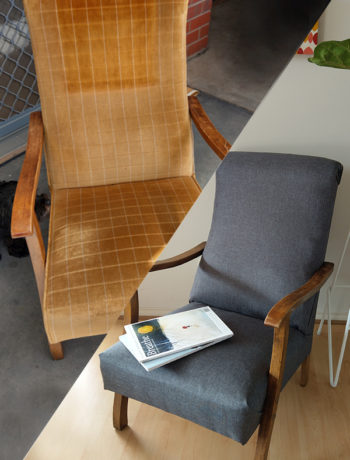 Upcycled chair from gold to grey material.