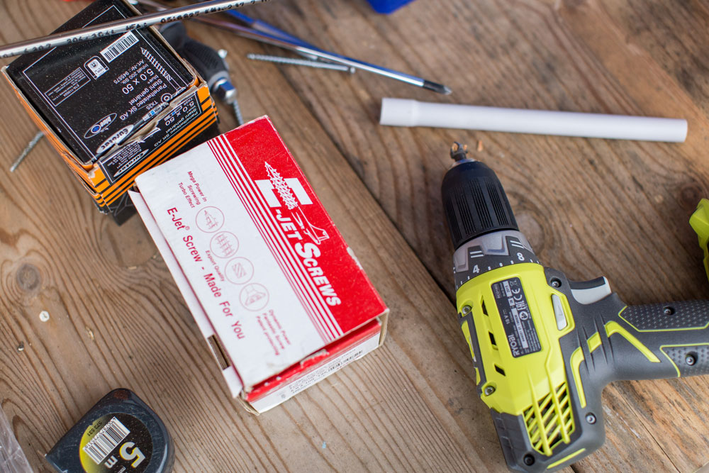 Tools for DIY projects including a drill.