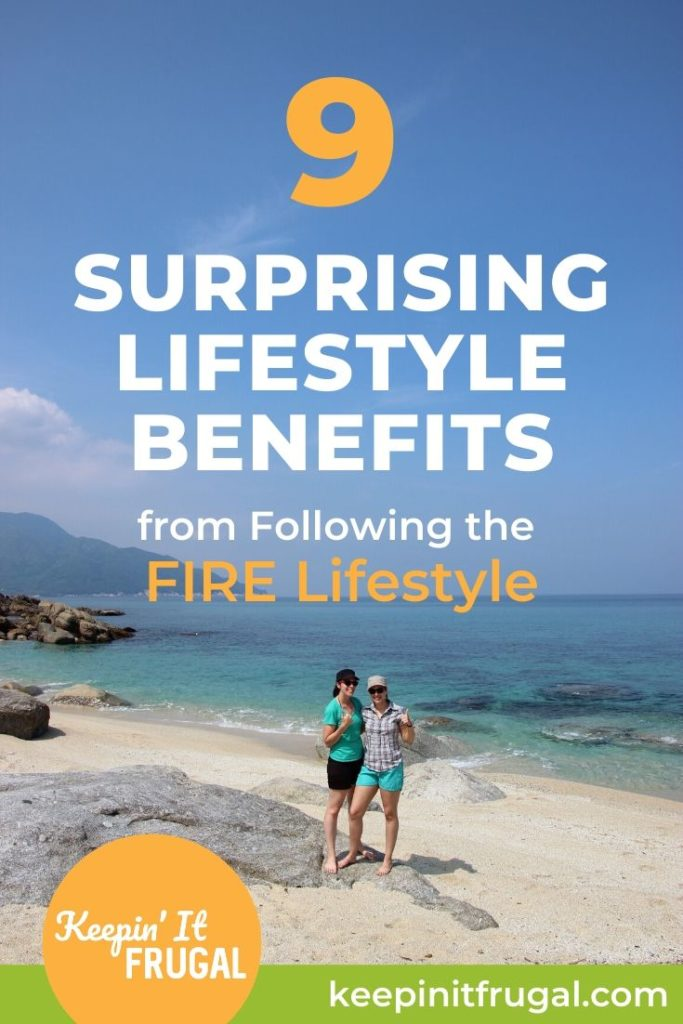 "Beach scene with the wording ""9 Surprising Lifestyle Benefits from Following the FIRE LIfestyle"""