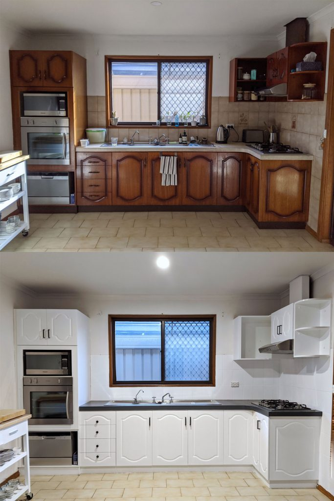Wooden kitchen before and after being painted white.