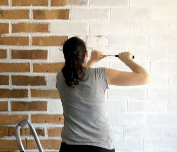Sarah painting a brown brick wall white.